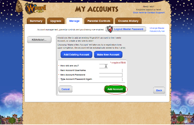 Password of the account you would like to add press quot add account